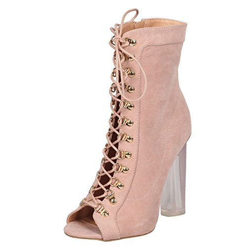 Wild Diva Womens Peep Toe Lace Up Clear Lucite Chunky High Heel Ankle Booties Boot Shoe