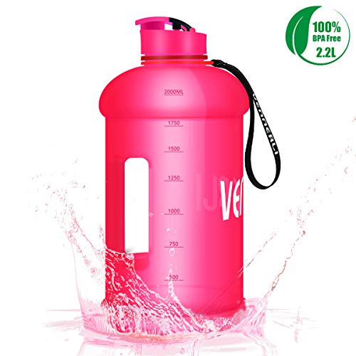 VENNERLI HalfGallonWater Bottle 73 oz Sport Water Jug 2.2L LeakProof BPA Free Hydro Bottle for Gym Yoga Travel Cycling Camping (Pink Half Gallon Water Jug)