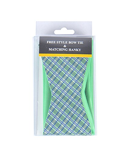 Green Stripe Free Style Bow Tie & Matching Hanky ()