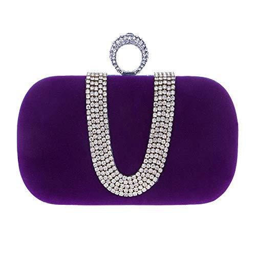 Fiesta Forma Bolsos Diamante Para Bolso Hsdda Damas Purple De En Noche Terciopelo Embrague Gamuza U x7qOzZC