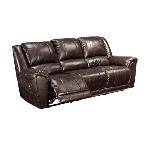 Contemporary Style Walnut (Ashley Furniture Signature Design -Yancy Reclining Sofa - Power Recliner - Contemporary Style - Walnut)