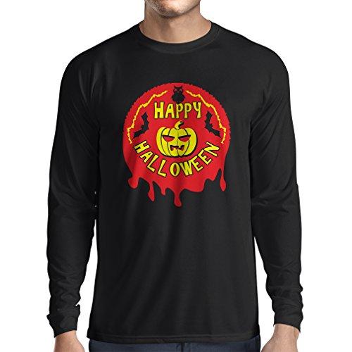 Long Sleeve t Shirt Men Happy Halloween! - Party Clothes - Pumpkins, Owls, Bats (Medium Black Multi Color) -