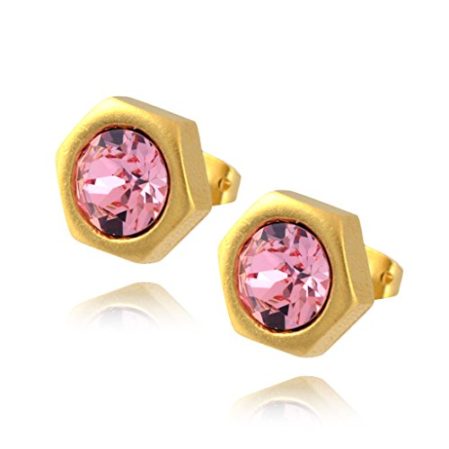 [Nara Hexagon Stud Earrings, Gold Plated Honeycomb Bolt on Post with Pink Swarovski Crystal] (Cocktail Honey Costumes)