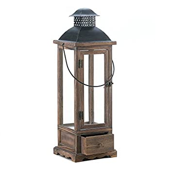 Home Locomotion Large Wooden Lantern With Drawer
