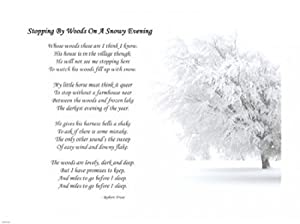 a review of stopping by the woods on a snowy evening by robert frost Stopping by woods on a snowy evening is susan jeffers' illustrated book of the robert frost poem it is a beautifully illustrated book which can be enjoyed by the parent as a child sits snugly on their lapi think it is a book that shows a great deal of respect.
