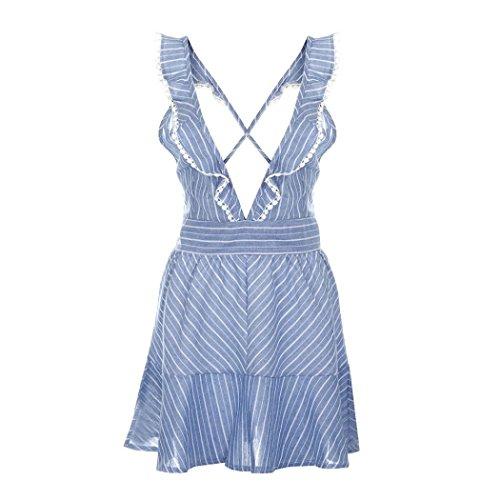 Mini Robe, Les Femmes Bsgsh Cocktail Bandage Feuille De Lotus Rayé V Cou Partie Balançoire Robe Bleue