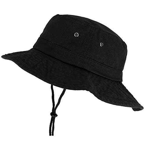 (Trendy Apparel Shop XXL Oversize Large Brim 100% Cotton Outdoor Boonie Hat - Black - 3XL)