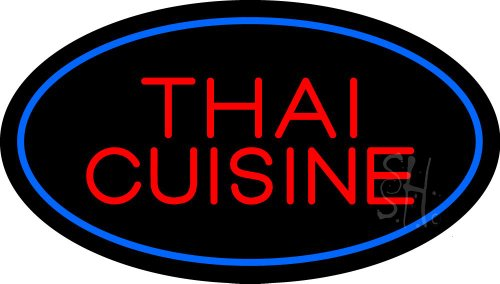 Thai Cuisine Oval Blue Clear Backing Neon Sign 17'' Tall x 30'' Wide by The Sign Store