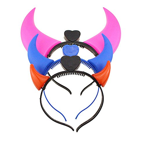 Fashion 3pcs LED Devil Horn Light Up Headband Flashing Horn for Halloween&Christmas Party (3-colors) ()