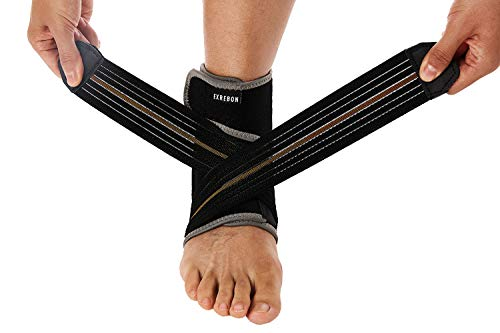 Exrebon Ankle Brace Adjustable Ankle Support Wrap with Metal Springs and High Elastic Belt Breathable Ankle Brace Stabilizer for Men & Women, OZ