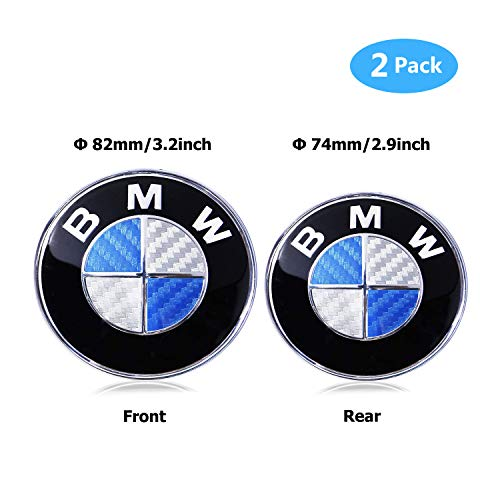 (BMW Emblems Hood and Trunk, Carbon Fiber BMW Emblem Logo Replacement 82mm + 74mm for All Models BMW E30 E36 E46 E34 E39 E60 E65 E38 X3 X5 X6 3 4 5 6 7 8 (82mm + 74mm))
