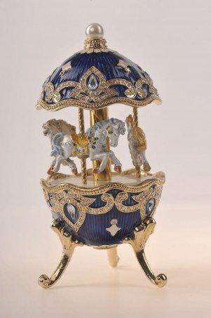 Blue Faberge Egg with Horse Carousel By Keren Kopal by Keren Kopal
