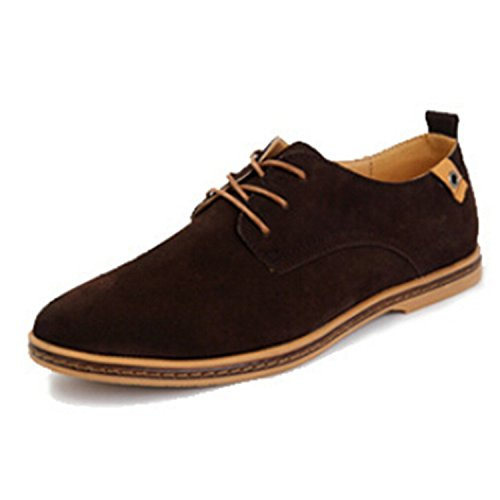 A Testoni Suede Oxfords - 2018 Fashion Men Casual Shoes New Spring Men Flats lace up Male Suede Oxfords Men Leather Shoes Zapatillas Hombre Size 38-48 Brown 6.5