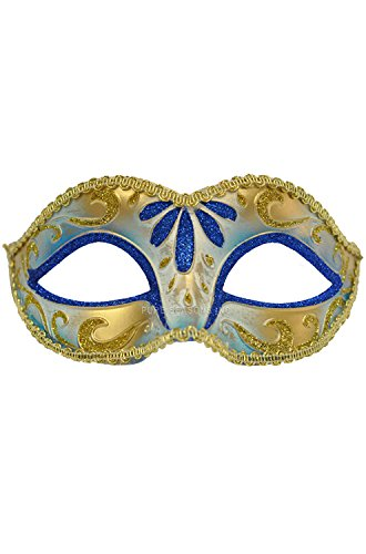 Teen Blue & Gold Venetian Mask Mardi Masquerade Halloween Prom Costume - Adult Gold And Beads Venetian Mask