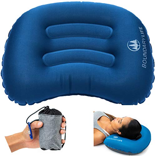 Boundary Life Camping Pillow for Backpacking Hammock Travel or Outside | Inflatable Pillows Provide Adjustable Lumbar Support in Airplane or car | Compressible | Ultra Lightweight | Foldable - Blue