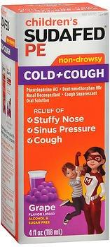 Pe Nasal Decongestant - CHILDREN'S SUDAFED PE Nasal Decongestant, Cough Suppressant COLD + COUGH Non-Drowsy, Grape Flavor 4 fl oz