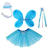 Girls Fairy Wings Set Dress Up Wings Birthday Party Favor Snowflake Tutu Wand Hat Gift Set Accessory...
