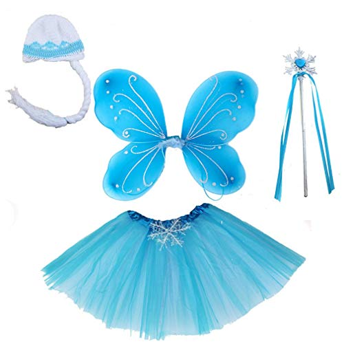 Girls Fairy Wings Set Dress Up Wings Birthday Party Favor Snowflake Tutu Wand Hat Gift Set Accessory (snowfalk 2) ()