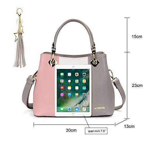 Fashion Handbag Bag for Black White Light Top pink Leather Grey for Grey Handbag Handle Shoulder Women Large Bag Bag A White Ladies LadiesLight for Handbag Tote Faux Design Elegant CqrawCz