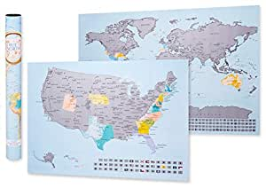 Scratch Off map of The World and United States - Two Genuine, Extra Large 33x24 Wall Maps with Excellent Cartographic Detail & Vibrant Design - Ideal Present/Gift for Travelers by TrueNorth