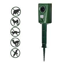 Ultrasonic Animal Repellent Outdoor Pest Repeller Repel Dogs,Cat,Birds,Reer,Raccoon,Rodents,Bats,Rabbits,Skunks,Wild Pigs with Humane Way,Ecofriendly