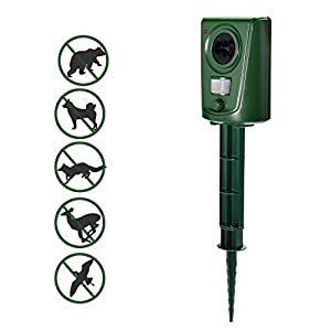 MATATA Ultrasonic Animal Repeller Outdoor Pest Repellent Repel Dogs Cat Birds Deer Raccoon Rodents Bats Rabbits Skunks Wild Pigs with Humane Way,Ecofriendly