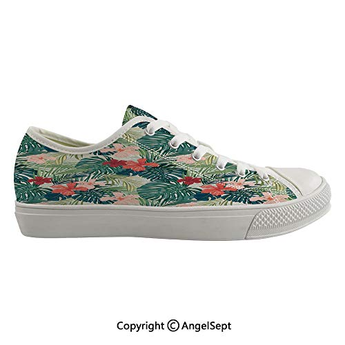 (Durable Anti-Slip Sole Washable Canvas Shoes 15.74inch Summer Beach Holiday Themed Hibiscus Plumeria Crepe Ginger Flowers Decorative,Pink Red Green and Dark Green Flexible and Soft Nice Gift)