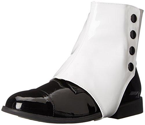 Funtasma Men's Dapper-06 Boot, Black Patent Detachable Spats, Small/8-9 M US (Spat Boots)