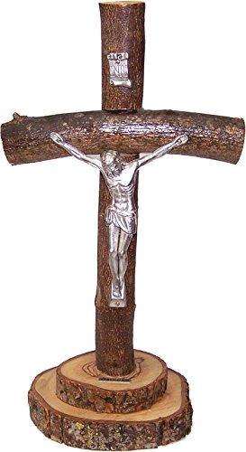 Holy Land Market Table Natural Olive Wood Cross/Crucifix with with bark Left as is (10 Inch)