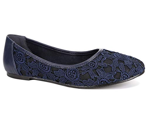 Greatonu Women Shoes Cut Out Slip On Synthetic Lace Ballet Flats (5.5 US/36 EU, Navy with Lining (Suitable for Cold Weather))