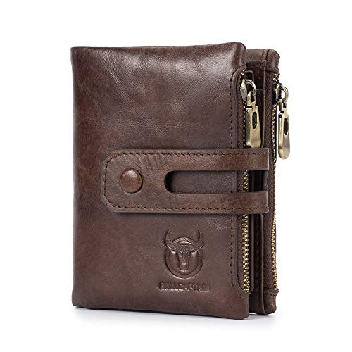 (BULL CAPTAIN Vintage Men Wallets Leather with Double Zipper Coin Pockets Bifold Credit Card Holder QB-021 (Brown))