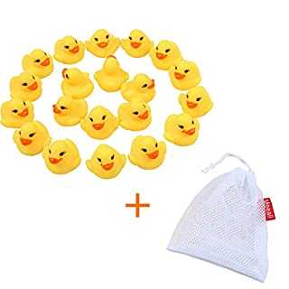 Meeall Mini Yellow Rubber Bath Ducks for Child 20pcs