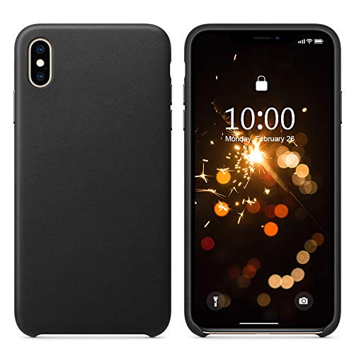 SURPHY Leather Case for iPhone Xs Max, Xs Max Genuine Leather Protective Case Cover (Slim Case with Metallic Buttons & Microfiber Lining) Compatible with iPhone Xs Max 6.5