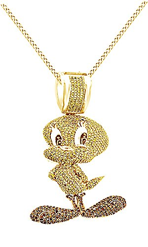 Round Cubic Zirconia Tweety Birds Hip Hop Pendant in 14k Yellow Gold Over Sterling Silver (4.11 Cttw) by AFFY