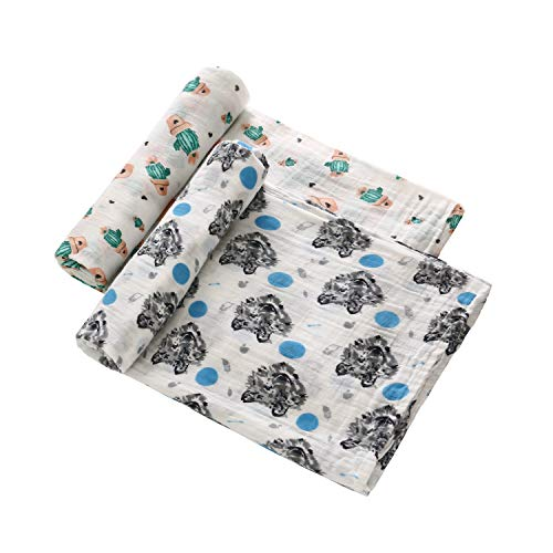 (Muslin Baby Swaddle Blanket 2-Pack, 47