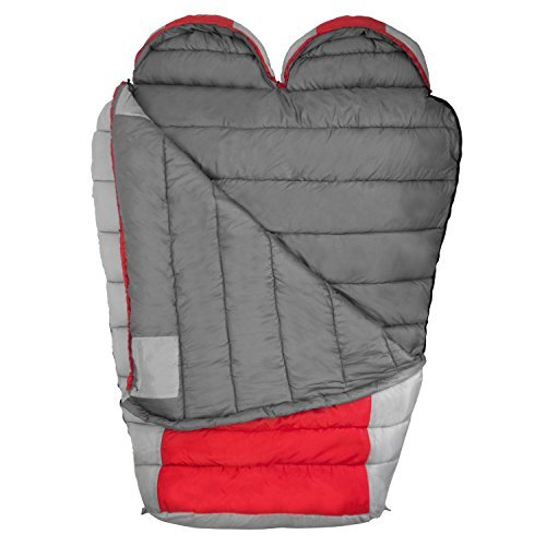 Winterial Double Mummy Sleeping Bag, Camping, Backpacking, Warm, 2 Person, Double Sleeping Bag, Red