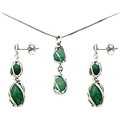 Emerald Pendant Necklace and Dangling Earrings Jewelry Set Sterling Silver 925 Genuine Natural