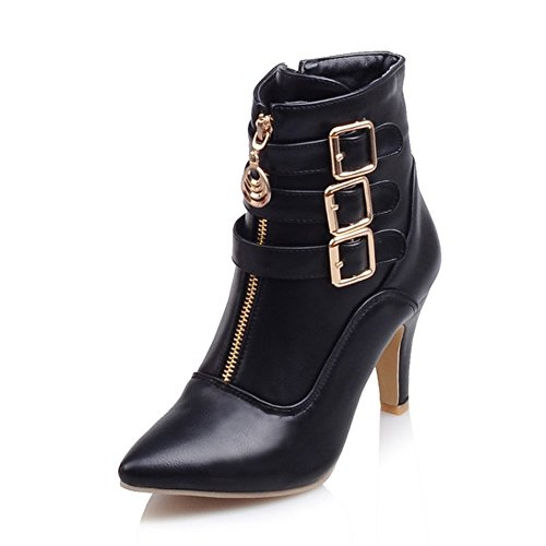 MEOTINA Women Ankle Boots High Heels Buckle Pointed Toe Shoes (9, Black) ()