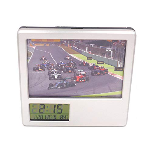 """Daojiao 5.7""""Desk & Shelf Clock F1 Racing Formula One Black Digital Alarm Clock Square Table Clock for Teenagers Adults Study/Office Décor with Pen Holder Photo Frame"""