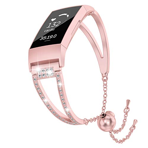 (TOYOUTHS Jewelry Bracelet Compatible Fitbit Charge 3 Bands for Women, Stainless Steel Metal Watch Band Adjustable Diamond Bangle Fancy Wristband Replacement Straps Accessories Small Large Rose Gold)
