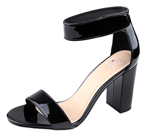 Delicious Women's Rosela Open Toe High Heel Ankle Strap Sandal Black Patent 9 M - Patent Dress Sandal