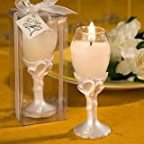Double heart design champagne flute candle holders, 48