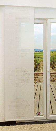 Schiebegardine von LYSEL® - Target transparent mit Kreisen in den Maßen 245 cm x 60 cm weiß/reinweiß