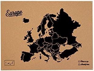 Miss Wood Mapa de Europa de Corcho, Pino, Negro, XL-60x90cm: Amazon.es: Hogar