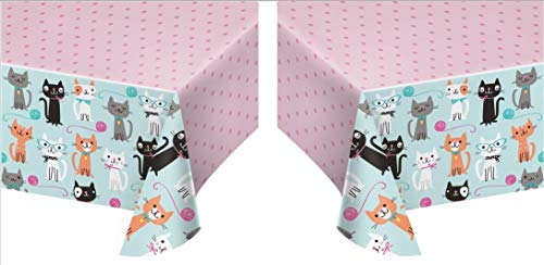 (Creative Converting 329399 All Over Print Plastic Tablecover, Purr-Fect Party (2 Pack))