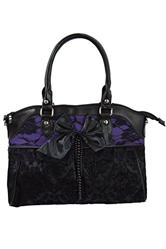 Lost Queen Victorian Gothic Dark Princess Velvet Skull Flocked with Bow Handbag (Flocked Bow)