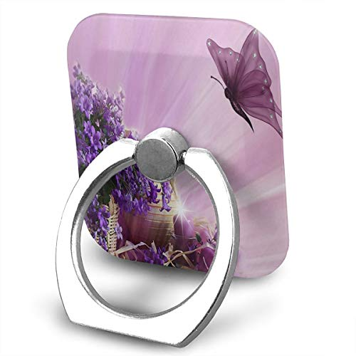 Butterfly Clipart - Phone Stand Purple Flower Clipart Butterfly Ring Cell Phone Stand Adjustable 360° Rotation Finger Grip Holder for IPad, Kindle, Phone X/6/6s/7/8/8 Plus/7, Divi, Accessories Desk, Android Smartphone