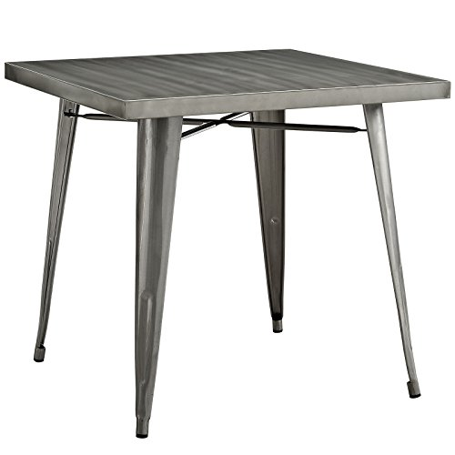 "Modway Alacrity 32"" Rustic Modern Farmhouse Stainless Steel Metal Square Dining Table in Gunmetal"