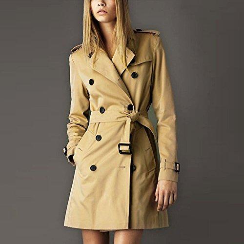 Caqui Femenino temperamento Edad de L niñas Chaqueta abrigo doble Mayihang caqui largo botonadura wqUn1z44P