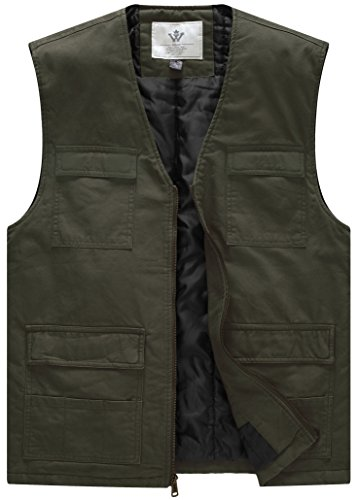 WenVen Men's Quilted Slim V Neck Riding Vest(Army Green,X-Large)